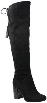J. Renee Calcari Microsuede Croco Print Tassel Over the Knee Boots