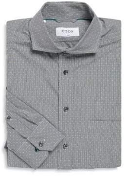 Eton Gingham Classic Fit Patterned Cotton Dress Shirt