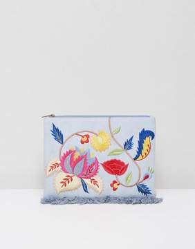 Glamorous Embroidered Denim Clutch Bag