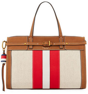 Tory Burch Striped Canvas & Suede Satchel Bag - NATURAL/NEW IVORY - STYLE