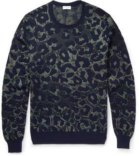 Dries Van Noten Leopard-Intarsia Cotton-Blend Sweater