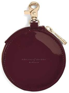 Aspinal of London | Round Coin Purse With Keyring In Deep Shine Cherry Patent | Deep shine cherry red patent