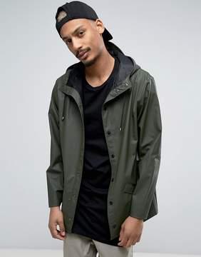 Rains Short Hooded Jacket Waterproof in Green
