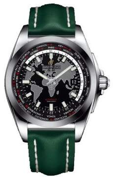 Breitling Galactic Unitime Black Dial Green Leather Automatic Men's Watch WB3510U4-BD94GRLD