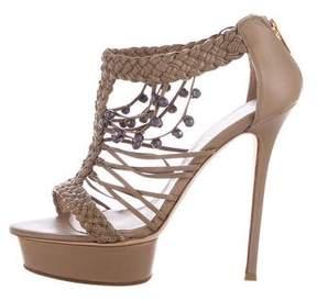 Le Silla Woven Leather Platform Sandals