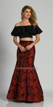 Dave and Johnny Bold Printed Off the Shoulder Ruffle Prom Dress