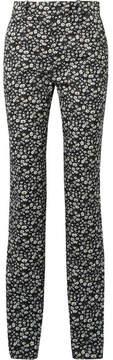 Calvin Klein Striped Floral-print Cotton-twill Skinny Pants - Black