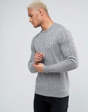 Jack Wills Marlow Merino Cable Knit Crew Neck Sweater In Gray Marl