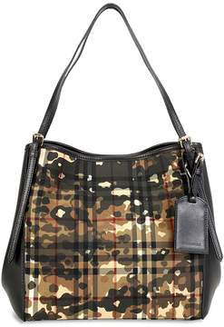 Burberry Open Box The Small Canter in Camouflage Horseferry Check Tote - Honey/Black