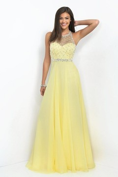 Blush Lingerie Embellished Halter Neck Chiffon A-Line Gown 11053