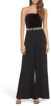 Eliza J Women's Embellished Belt Strapless Velvet & Crepe Jumpsuit