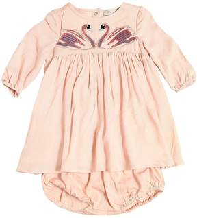 Stella McCartney Swans Crepe Dress & Jersey Diaper Cover