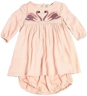 Stella McCartney Swans Crepe Dress & Jersey Diaper Cover