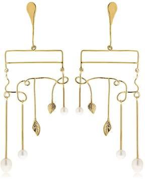 Aurelie Bidermann Siroco Pearls & Leaves Earrings