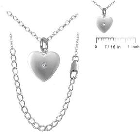 Ice Kids' Jewelry Silver Diamond Heart Pendant Necklace For Girls (14 to 16 In)