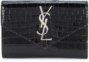 Saint Laurent crocodile embossed flap wallet - BLACK - STYLE