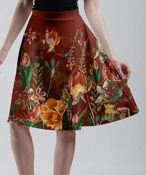 Lily Rust & Green Glasswing Butterfly Garden A-Line Skirt - Women & Plus