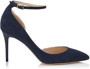 Jimmy Choo LUCY 85 Navy Suede Pointy Toe Pumps