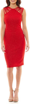 Bisou Bisou Sleeveless Glitter Sheath Dress