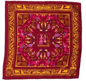 Hermes Early America Silk Pocket Square