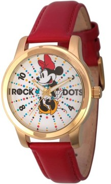Disney Disney, Minnie Mouse Rock the Dots Women's Gold Alloy Watch, Red Leather Strap