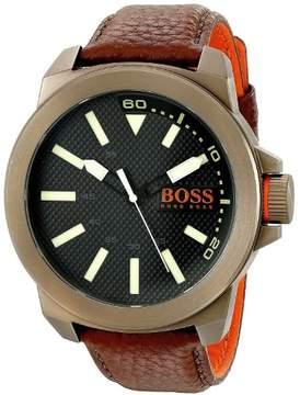 HUGO BOSS Men's Orange Brown Leather Strap Watch 1513168