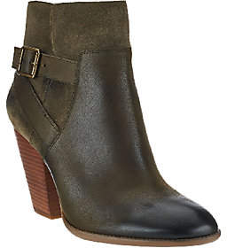 Sole Society Leather Stacked Heel Ankle Boots - Hollie