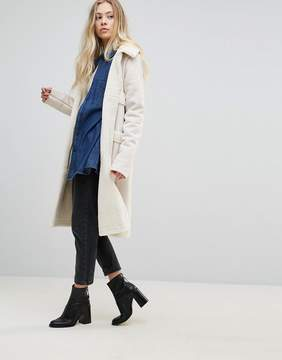 Goldie Firey Nights Faux Sheerling Long Coat With Front Pockets