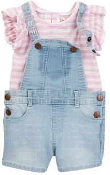 Jessica Simpson Top & Overall Short Set (Baby Girls)