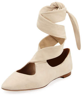 The Row Elodie Lace-Up Ballet Flat, Neutral