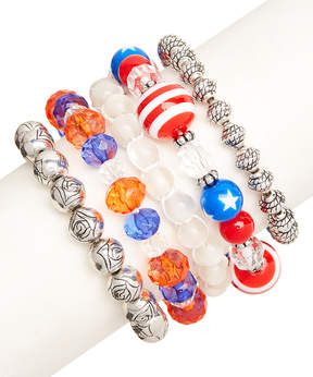 Carole Five-Piece Red & Blue Stretch Bracelet Set