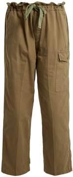 Chimala Gathered-waist cotton-herringbone trousers