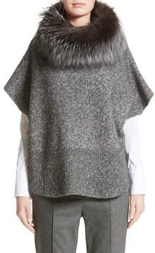 Fabiana Filippi Women's Pebble Tweed Knit Poncho With Genuine Fox Fur Collar
