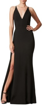 Dress the Population Women's Iris Slit Crepe Gown