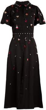 Temperley London Saturn charm-embellished satin-cady midi dress
