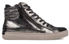 Crime London Women's Silver/grey Leather Hi Top Sneakers.