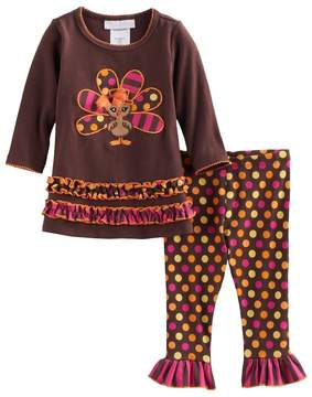 Bonnie Jean Baby Girl Thanksgiving Turkey Tunic & Leggings Set