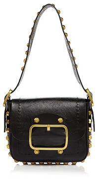 Tory Burch Sawyer Stud Small Leather Shoulder Bag - BLACK/GOLD - STYLE