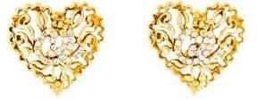 Christian Lacroix Crystal Heart Clip-On Earrings