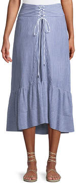 T Tahari Tie-Front Striped Cotton Midi Skirt