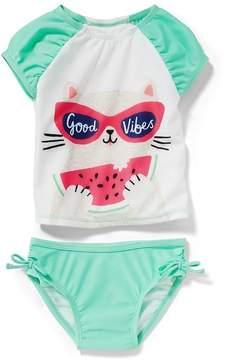 Old Navy Good Vibes Rashguard Swim Set for Toddler Girls