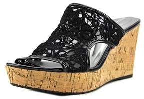 Andrew Geller Danika Open Toe Canvas Wedge Sandal.