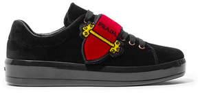 Prada Logo-print Velvet Sneakers - Black