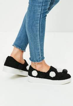 Missguided Black Pom Pom Flatform Sneakers