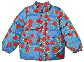 Mini Rodini Blue Rose Print Puffer Jacket