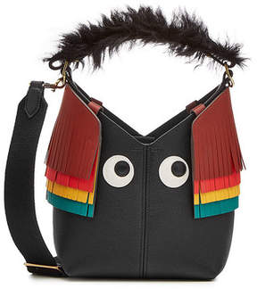 Anya Hindmarch Mini Build A Bag Creature Leather Tote with Lamb Fur