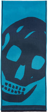 Alexander McQueen Navy and Blue Oversized Skull Scarf