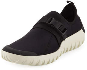 Prada Men's Scuba Low-Top Stretch Sneakers, Black/White
