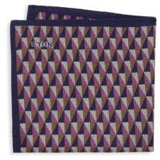 Eton Geometric-Print Wool Pocket Square