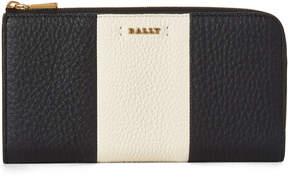 Bally Black Logo Stripe Leather Zip-Around Wallet